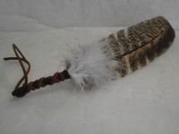 Blessed Feather fan Hand Made Leather Handle