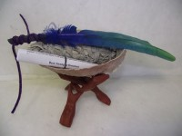 Sage Smudge Kit with Abalone Shell Sage Stand Blue Green Feather