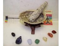 Chakra Smudge Kit with shell stand sage 7 chakra